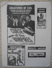 Curse of the Vampires, 2 page promo sheet, horror, Amalia Fuentes, '62